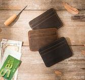 工作證件卡套廠牌復古迷你小零錢包瘋馬皮小卡包頭 3C公社
