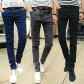 牛仔褲 夏季薄款男士牛仔褲男修身小腳褲男生正韓男褲青年黑色褲子男 「繽紛創意家居」