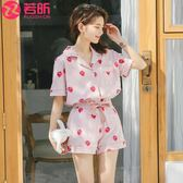 睡衣女夏純棉短袖兩件套裝韓版清新學生可愛薄款夏季可外穿家居服