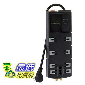 [106美國直購]  AmazonBasics 防護插座 8 Outlet Surge Protector with 6 Feet Cord, 4350 Joules