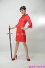 (45 Design)紅色中式短款短袖新娘結婚敬酒婚禮旗袍禮服