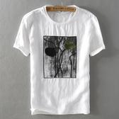 亞麻T恤-毛巾刺繡寬鬆棉麻短袖男上衣73xf31【巴黎精品】