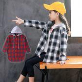 *╮小衣衫S13╭*中大童男女百搭連帽格子長袖外套式襯衫1070836