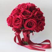紅色玫瑰婚禮手捧花結婚新娘捧花中國風婚禮拍照婚紗道具仿真花束 初見居家
