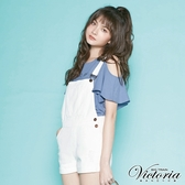Victoria 白色純棉割破吊帶短褲-女