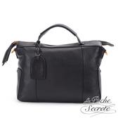 La Poche Secrete 簡約荔枝紋真皮手提側背波士頓包-百搭黑 AG-A6327