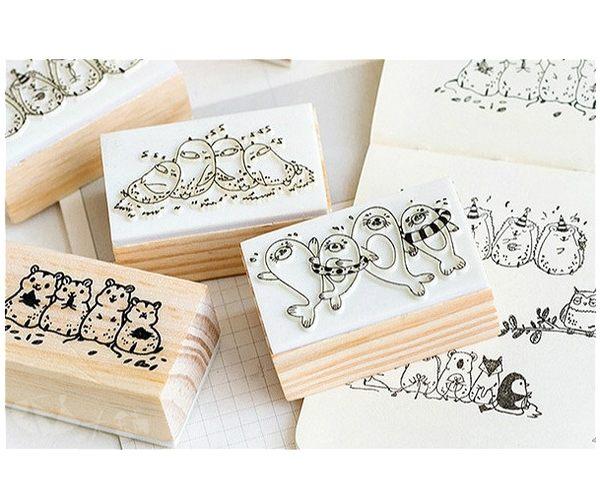 印章│可愛動物在一起木頭印章