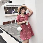 中大尺碼 粉色甜美圓點V領短袖洋裝 - 適XL~4L《 68135 》CC-GIRL