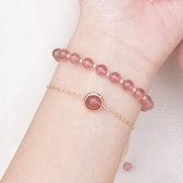 天然草莓晶手鏈女韓版簡約個性粉色水晶招桃花轉運珠手串