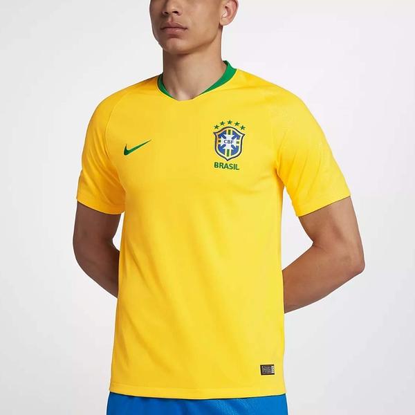 Nike 球衣 2018 Brasil CBF Stadium Home 金黃 綠 男款 巴西國家隊 主場 球迷版 FIFA 世界盃【PUMP306】 893856-749