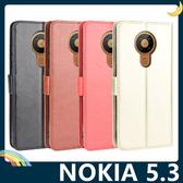 NOKIA 5.3 瘋馬紋保護套 皮紋側翻皮套 附掛繩 商務 支架 插卡 錢夾 磁扣 手機套 手機殼 諾基亞
