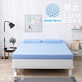 House Door 抗菌防螨11cm藍晶靈涼感舒壓記憶床墊-雙大天空藍
