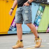 男士牛仔短褲夏季大尺碼男裝寬鬆薄馬褲破洞五分大號5七7分中褲XL-6XL