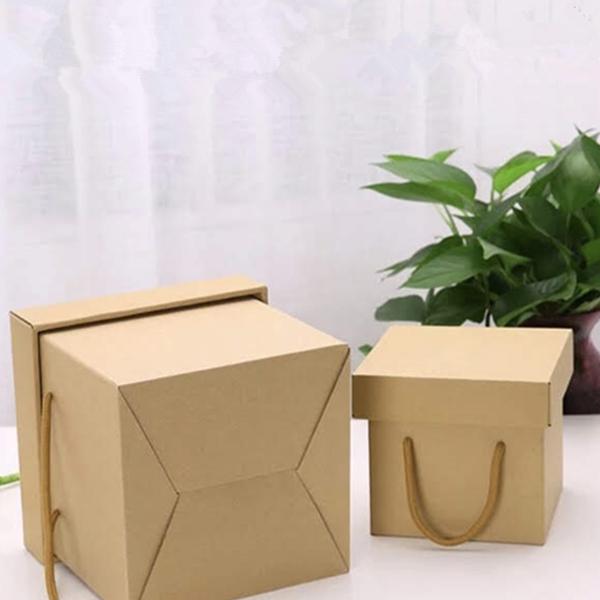永生花玻璃罩DIY包裝禮盒,牛皮紙盒 (花朵款含紙袋),25*25*25cm
