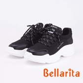 bellarita.拼接飛織透氣百搭休閒運動鞋(9401-95黑色)