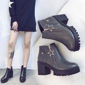 2019秋冬季女靴子歐美英倫時尚馬丁靴短靴圓頭高跟粗跟防滑側拉鍊