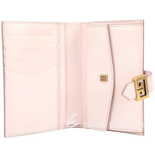GIVENCHY GV3 絎縫鑽石紋山羊皮釦式中夾(淺粉色) 1920286-05