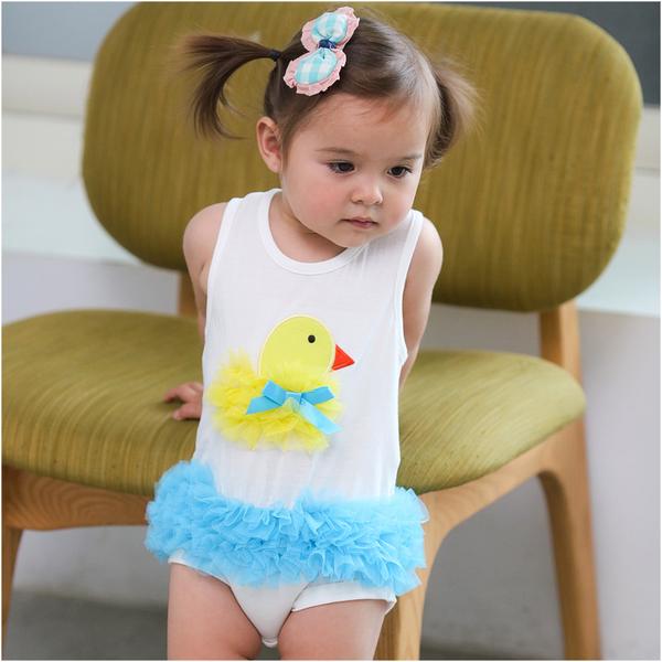 無袖包屁裙 立體小雞 造型服 蓬蓬紗 女寶寶 包屁衣 爬服 哈衣 Augelute Baby 32145