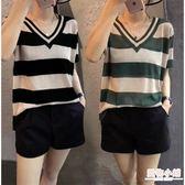 大碼女裝夏裝新款時尚V領條紋t恤女薄款短袖冰絲針織寬鬆上衣