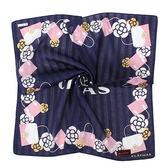 Clathas 經典山茶花時尚包純綿帕巾(深藍色)989255