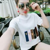 春夏季新款女裝寬鬆短袖T恤針織百搭半袖字母上衣學生打底衫  凱斯盾數位3C