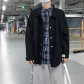 牛仔外套男士潮流工裝夾克春秋季修身帥氣學生棒球服 糖果時尚