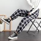 黑白格子褲女寬鬆束腳春秋季2020新款顯瘦直筒闊腿加厚休閒運動褲 漫步雲端