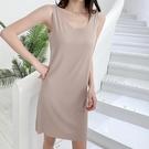 莫代爾洋裝 新款夏大碼家居睡裙加長t恤裙莫代爾背心長裙寬鬆吊帶連身裙-Ballet朵朵