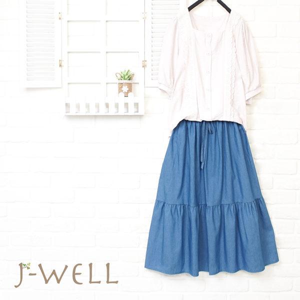 J-WELL 前開襟甜美上衣牛仔裙二件組 (組合A64 8J1558粉+8J1570中藍)