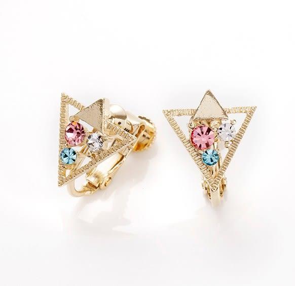 正韓個性交疊三角鑲鑽夾式耳環