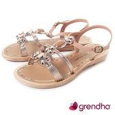 GRENDHA 璀璨名媛鑽飾平底涼鞋-粉膚