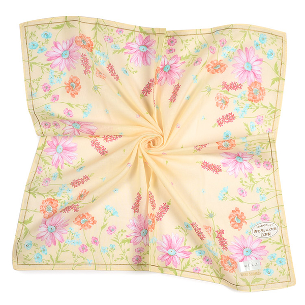 JUNKO SHIMADA繽紛花卉印花純綿帕領巾(淺黃色)989019-6