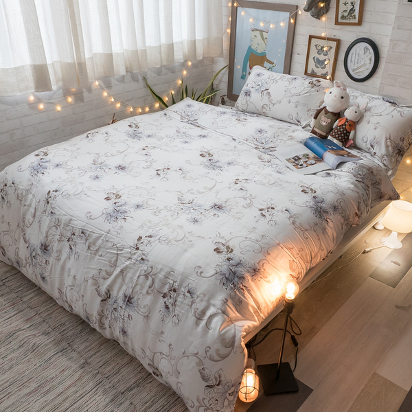天絲床組 山水花漾 Q4雙人加大薄床包鋪棉兩用被四件組(60支) 100%天絲 棉床本舖