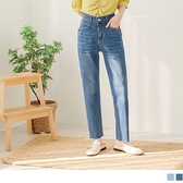 《BA6124》高腰刷色牛仔釘鑽修身口袋長褲 OrangeBear