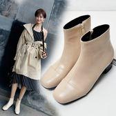 丁果、大尺碼女鞋34-45►大氣百搭方頭粗跟短靴*3色