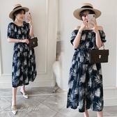 孕婦裝 MIMI別走【P52995】南洋渡假風 涼感寬版雪紡印花洋裝 長裙
