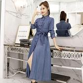 牛仔洋裝 秋裝新款連身裙女法式小眾收腰顯瘦磨白牛仔裙子828 送腰帶 艾維朵
