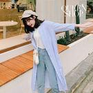Queen Shop【01023328 】配色條紋長版襯衫 售*現+預*