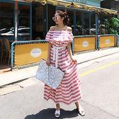 沙灘度假風經典條紋蝴蝶結綁帶收腰一字領露肩連身裙長裙6114#ZL-7F-705-D朵維思