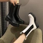 網紅鞋女大碼皮面鬆糕厚底煙筒靴切爾西靴鬆緊帶中筒馬丁短靴 3C數位百貨
