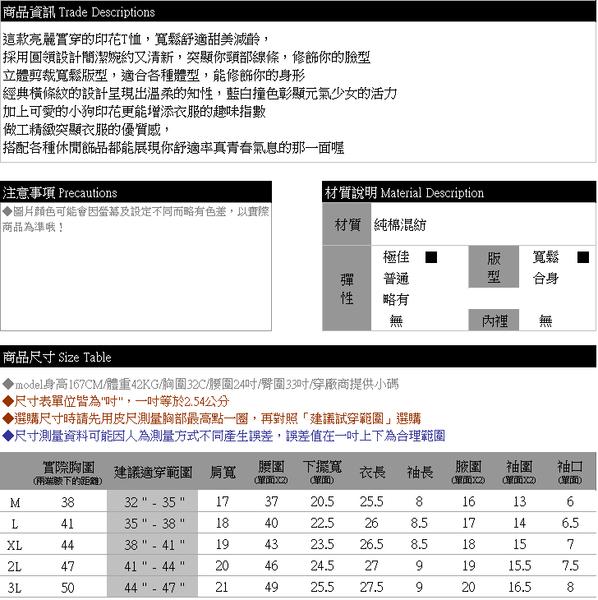 棉T--舒適休閒小狗印花撞色條紋寬鬆修身百搭圓領短袖T恤(灰.藍M-3L)-T336眼圈熊中大尺碼