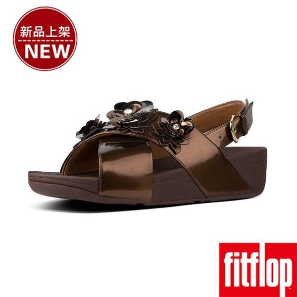 【FitFlop】LULU FLOWER PATENT BACK-STRAP SANDALS(銅色)