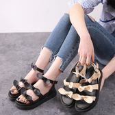 楔型厚底涼鞋 夏季新款羅馬涼鞋復古時尚風文藝學生鞋大碼女鞋《小師妹》sm2376