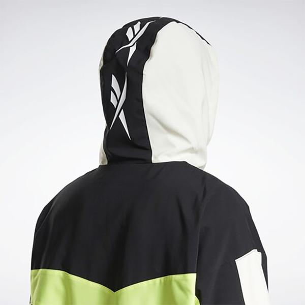 REEBOK BACK VECTOR 男裝 女裝 外套 連帽 風衣 休閒 撞色 拉鍊口袋 白黑【運動世界】GP4773