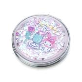 小禮堂 美樂蒂 圓形流沙隨身雙面鏡 隨身化妝鏡 放大鏡 圓鏡 折鏡 (粉 2021新生活) 4550337-40006