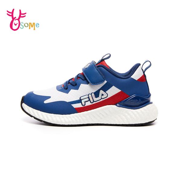 FILA童鞋 男童運動鞋 輕量慢跑鞋 運動鞋 跑步鞋 魔鬼氈運動鞋 大童 康特杯 R7665#白藍◆奧森