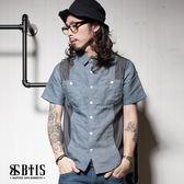 【BTIS】條紋單寧側身 拼接襯衫 / 深藍色