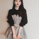 職業洋裝 秋冬季新款裝洋氣質減齡小黑裙顯瘦百搭收腰假兩件連衣裙 莎瓦迪卡
