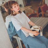 MUMU【O88128】假兩件拼接短袖連衣裙。兩色