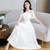 洋裝 韓系白色雪紡收腰顯瘦連身長裙 花漾小姐【預購】